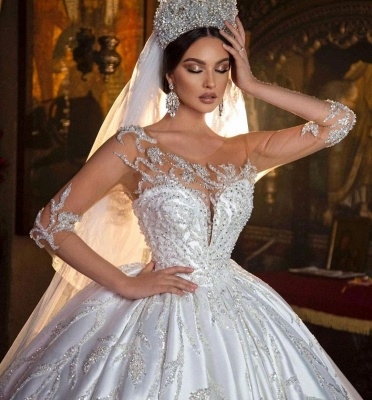 Gorgeous Crew Neck 3D  Floral Ball Gown Long Sleeves Aline Bridal Dress For Bride_5