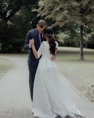 Élégante robe de mariée blanche à manches longues Aline Robe de mariée jardin simple pour la mariée_5
