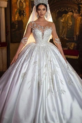Gorgeous Crew Neck 3D  Floral Ball Gown Long Sleeves Aline Bridal Dress For Bride