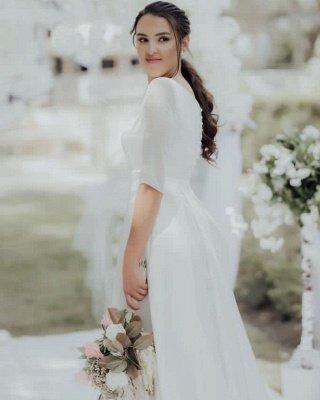Élégante robe de mariée blanche à manches longues Aline Robe de mariée jardin simple pour la mariée_4
