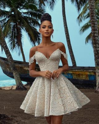 Elegante vestido de fiesta corto floral con hombros descubiertos_3