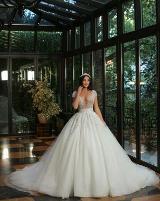 Gorgeous Cap Sleves Lentejuelas brillantes Vestido de novia Hasta el suelo Vestido de novia ALine_2