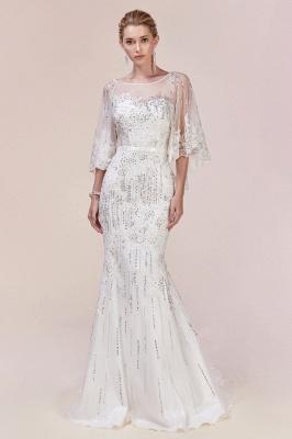 Stilvolle schlanke Meerjungfrau Hochzeit Party Kleid Pailletten mit Cape_4