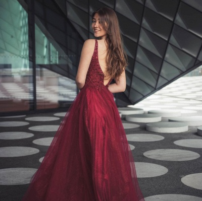 Stylish Burgundy Sleeves Aline Shinny Sequins Tulle Evening Party Gown_2