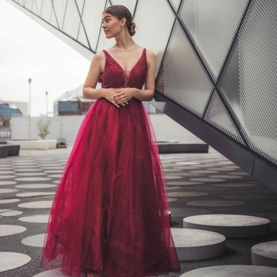 Stylish Burgundy Sleeves Aline Shinny Sequins Tulle Evening Party Gown_3