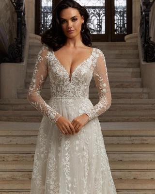 Elegante vestido de recepción de boda de jardín de encaje floral de manga larga_2