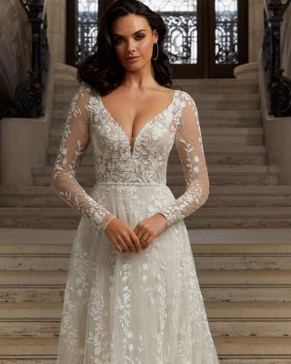Elegant Long Sleeves Floral Lace Garden Wedding Reception Dress_2