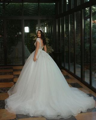 Gorgeous Cap Sleves Lentejuelas brillantes Vestido de novia Hasta el suelo Vestido de novia ALine_3