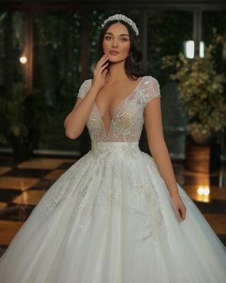 Gorgeous Cap Sleves Lentejuelas brillantes Vestido de novia Hasta el suelo Vestido de novia ALine_4