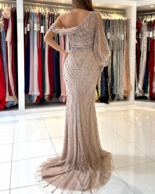 Charming One Shoulder Mermaid Evening Gown Beadings Prom Dress_3