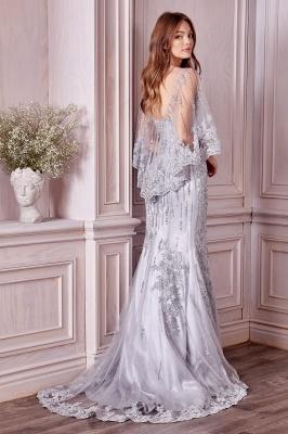 Stilvolle schlanke Meerjungfrau Hochzeit Party Kleid Pailletten mit Cape_2