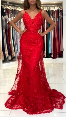 Stunning Sweetheart Red Lace Appliques Mermaid Evening Gown_2