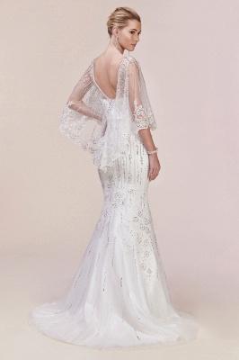 Stilvolle schlanke Meerjungfrau Hochzeit Party Kleid Pailletten mit Cape_5