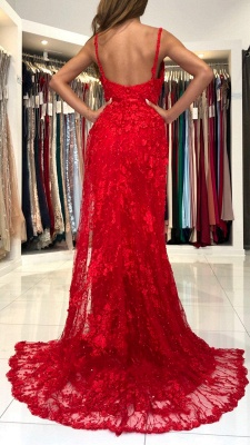 Stunning Sweetheart Red Lace Appliques Mermaid Evening Gown_3