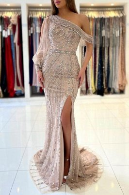Charming One Shoulder Mermaid Evening Gown Beadings Prom Dress_1