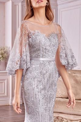 Stilvolle schlanke Meerjungfrau Hochzeit Party Kleid Pailletten mit Cape_3