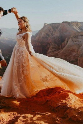 Elegant V-Neck Tulle Lace Appliques Wedding Dress Sleeveless Party Dress