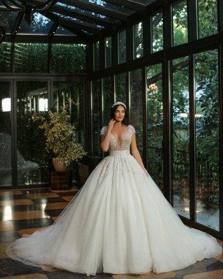 Gorgeous Cap Sleves Sparkly Sequins Wedding Gown Floor Length ALine Bridal Dress_2