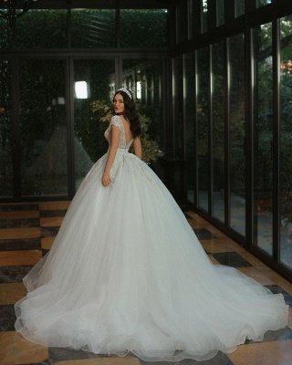 Gorgeous Cap Sleves Sparkly Sequins Wedding Gown Floor Length ALine Bridal Dress_3