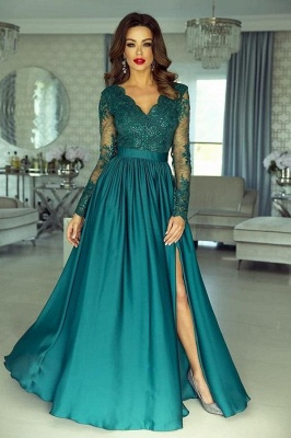 Stylish Dark Green Long Sleeves Lace Appliques Satin Evening Dress with Side Slit