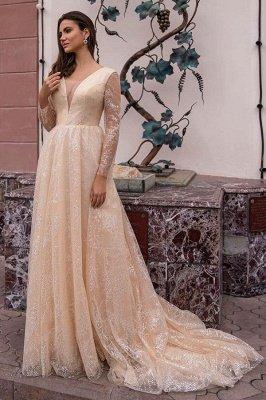 Elegant Long Sleeves Aline Sequins Wedding Party Dress