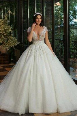 Gorgeous Cap Sleves Sparkly Sequins Wedding Gown Floor Length ALine Bridal Dress