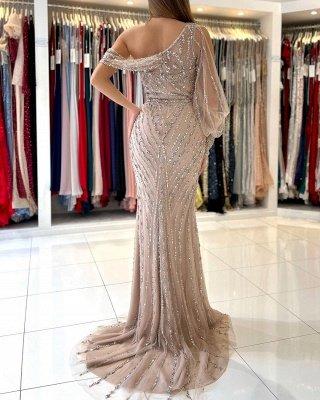 Charming One Shoulder Mermaid Abendkleid Perlen Abendkleid_3