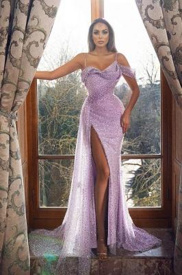 Robe de soirée sirène sexy à bretelles scintillantes et paillettes avec fente latérale_1