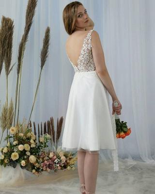Stylish Sleeveless Lace Aline Short Homecoming Dress V-Neck Formal Dress_2