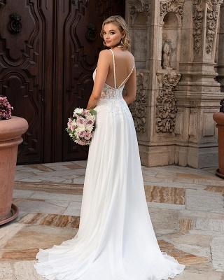 Simple Chiffon Wedding Dresses Spaghetti Straps  Lace Appliques Bridal Dress_2