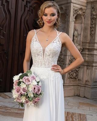 Simple Chiffon Wedding Dresses Spaghetti Straps  Lace Appliques Bridal Dress_3