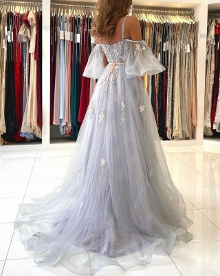 Charming Off Shoulder Tulle Evening Gown Floral Party Dress_6