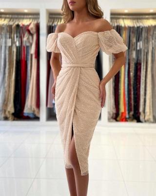 Off Shoulder Bubble Sleeves Sequins Beads Short Slim Formal Dress Mermaid Party Dress_4