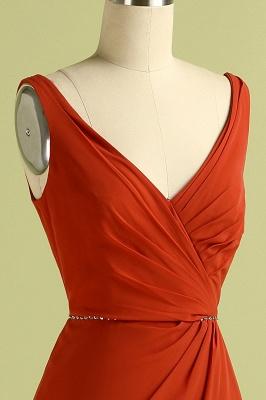 Orange ärmelloses Brautjungfernkleid mit V-Ausschnitt und Schlitz rückenfreies Hochzeitsfest Wedding_6
