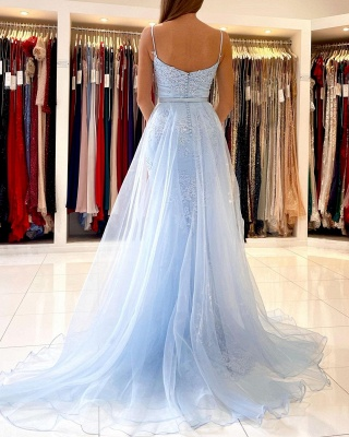 Sky Blue Spaghetti Straps Lace Mermaid Evening Dress with Tulle Detachable Train_3