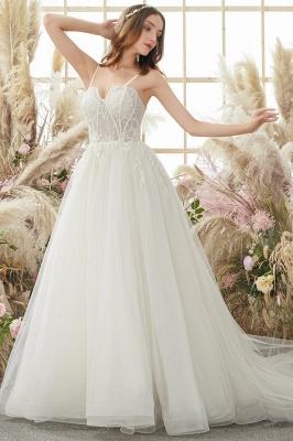Elegant White Straps Tulle Aline Wedding Dress_3