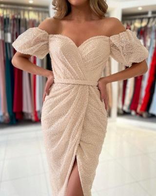 Off Shoulder Bubble Sleeves Sequins Beads Short Slim Formal Dress Mermaid Party Dress_3