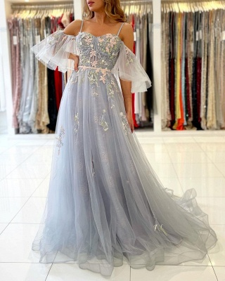 Charming Off Shoulder Tulle Evening Gown Floral Party Dress_2