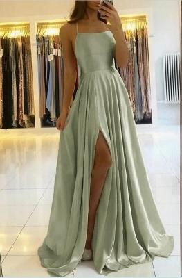 Charmantes Maxi-Abendkleid aus Satin mit Spaghetti-Trägern und ärmellosem Kleid mit Seitenschlitz_3