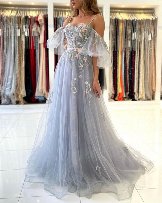 Charming Off Shoulder Tulle Evening Gown Floral Party Dress_3