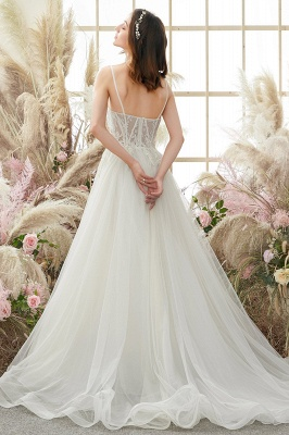Elegant White Straps Tulle Aline Wedding Dress_2