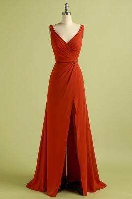 Orange ärmelloses Brautjungfernkleid mit V-Ausschnitt und Schlitz rückenfreies Hochzeitsfest Wedding_4
