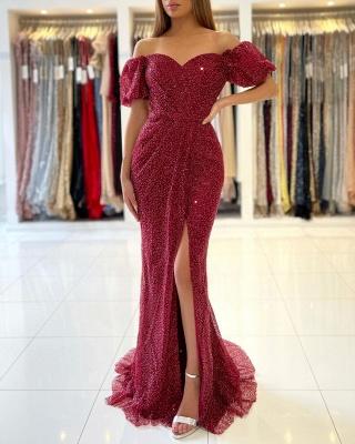 Charmante robe de soirée sirène à épaules dénudées_3