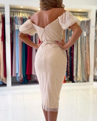 Off Shoulder Bubble Sleeves Sequins Beads Short Slim Formal Dress Mermaid Party Dress_2