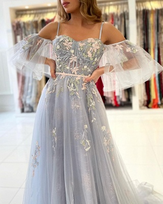 Charming Off Shoulder Tulle Evening Gown Floral Party Dress_5