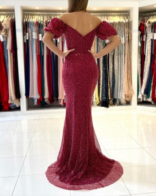 Charming off Shoulder Mermaid Evening Prom Gown_2