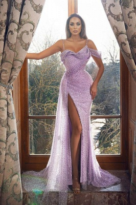 Sexy Off the Shoulder Straps Glitter Sequins Mermaid Evening Gown with Side Split