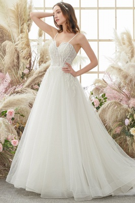 Elegant White Straps Tulle Aline Wedding Dress