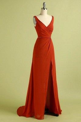 Orange Sleeveless V-Neck Bridesmaid Dress with Slit Backless Wedding Party Dress_3