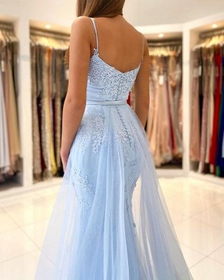 Sky Blue Spaghetti Straps Lace Mermaid Evening Dress with Tulle Detachable Train_2